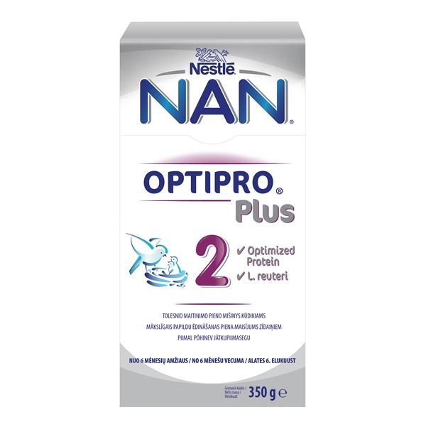 Tolesnio maitinimo pieno mišinys NAN 2 OPTIPRO PLUS L.Reuteri, kūdikiams nuo 6 mėnesių iki 1 metų, 350 g