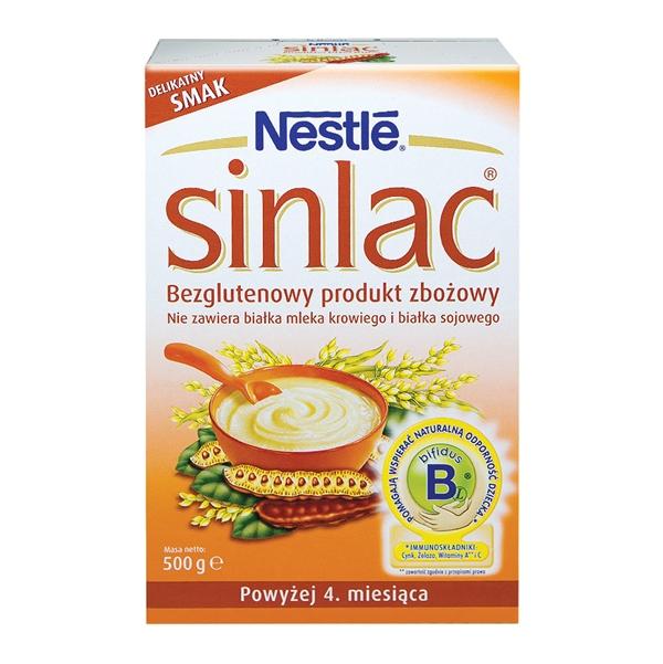 NESTLE SINLAC košė alergiškiems kūdikiams be pieno, nuo 4 mėn., neto masė 500g