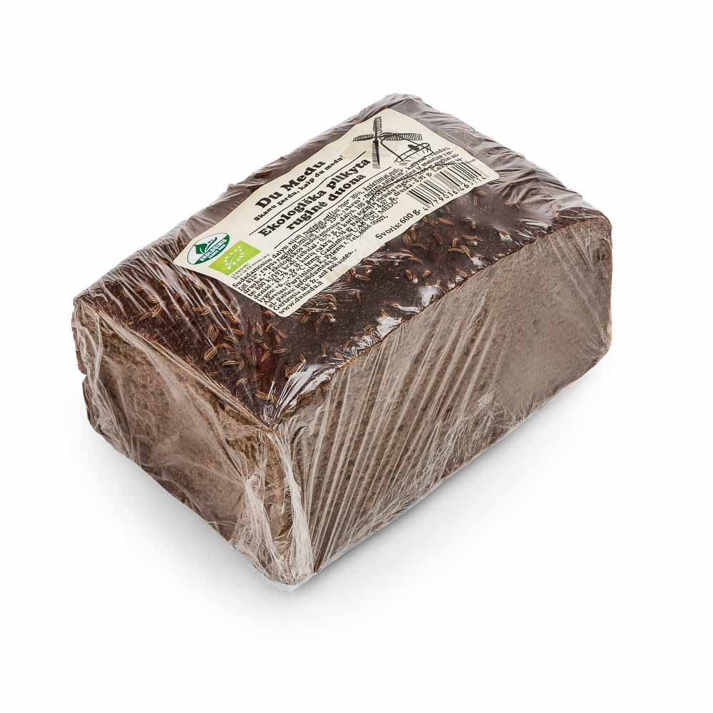 Ekologiška plikyta ruginė duona DU MEDU, 600g