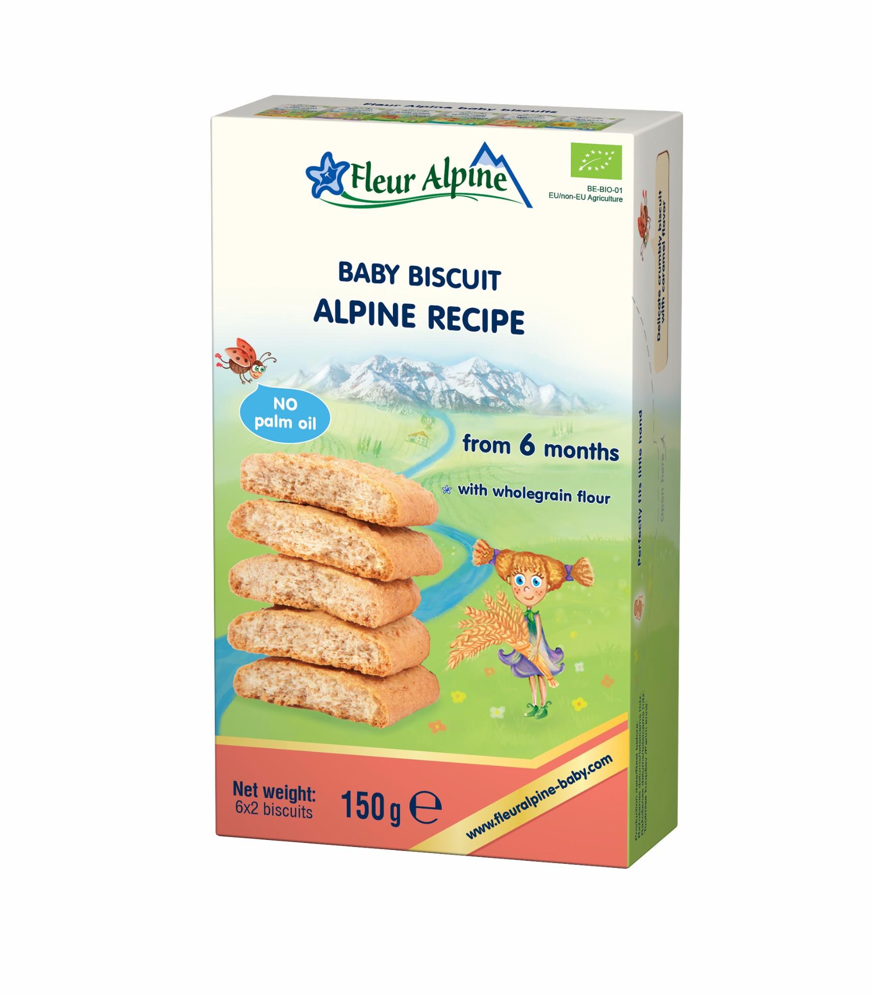 Ekologiški tirpūs sausainiai Alpine su prebiotikais kūdikiams nuo 6 mėn. FLEUR ALPINE, 150 g