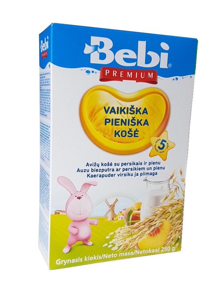BEBI PREMIUM pieniška avižų košė su persikais, kūdikiams nuo 5mėn, neto masė 250 g.