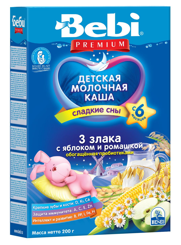 BEBI Premium pieniška 3 grūdų košė su obuoliais ir ramunėlėmis nuo 6 mėn., 200g