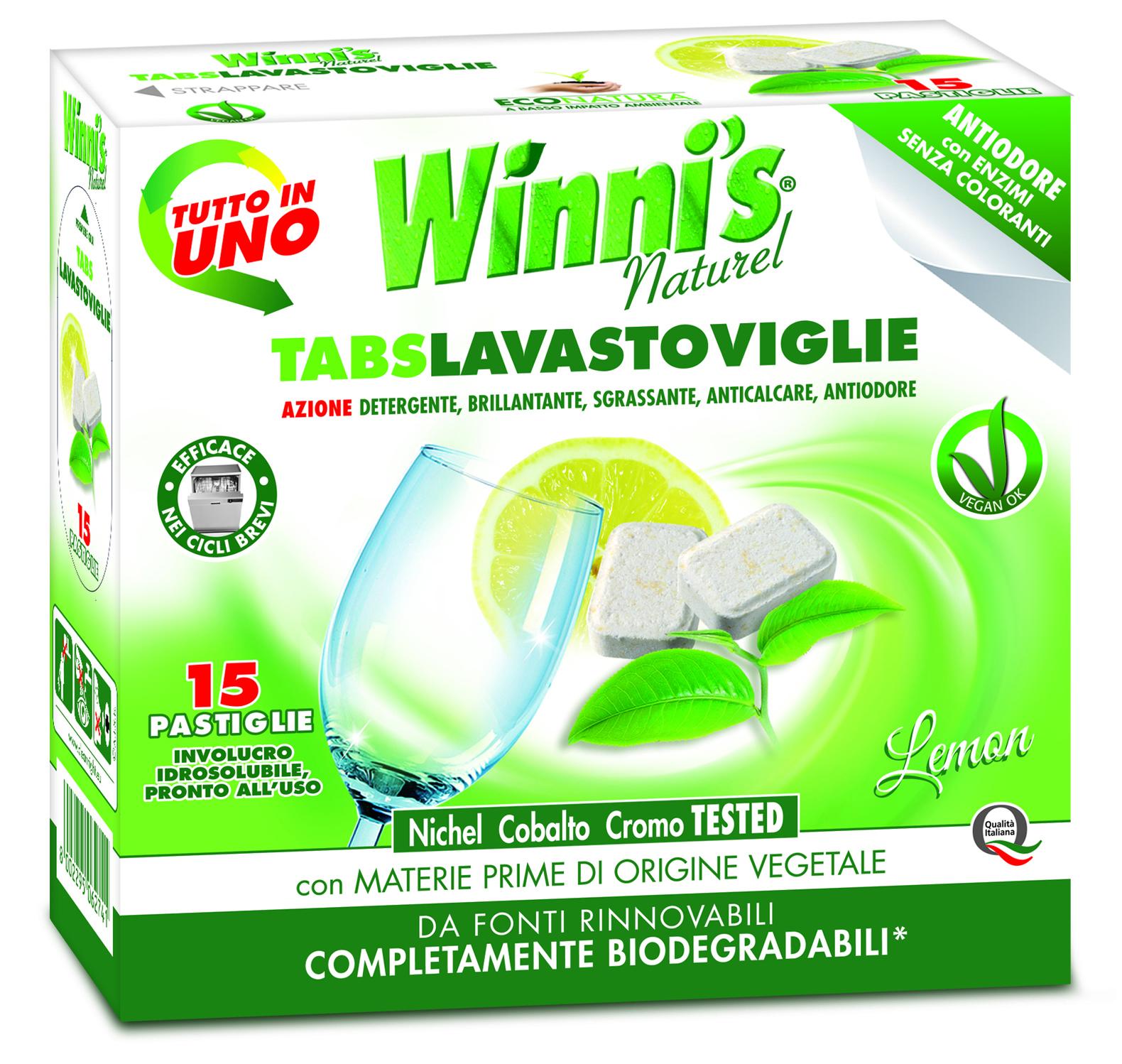 Ekologiškas indaplovių tabletės citrusų aromato WINNI'S, 15 vnt