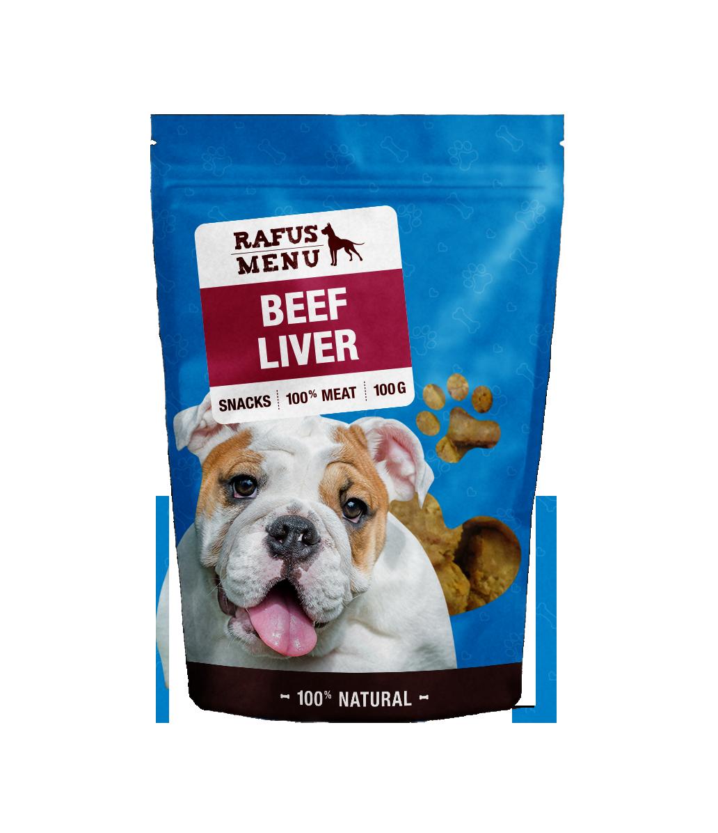 100% natūralios vytintos galvijų kepenys šunims RAFUS, 100 g