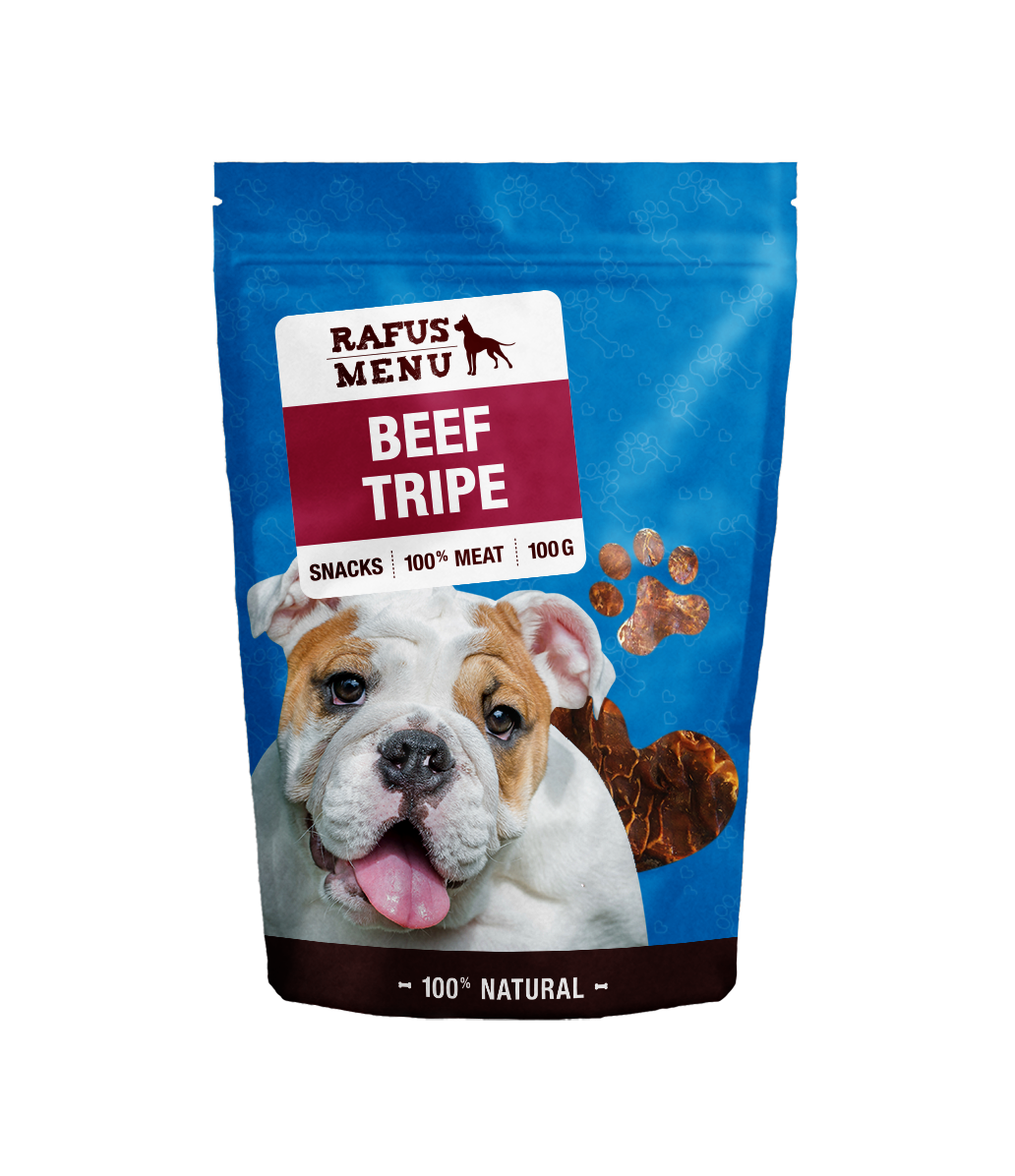 100% natūralūs vytinti galvijų skrandžiai šunims RAFUS, 100 g