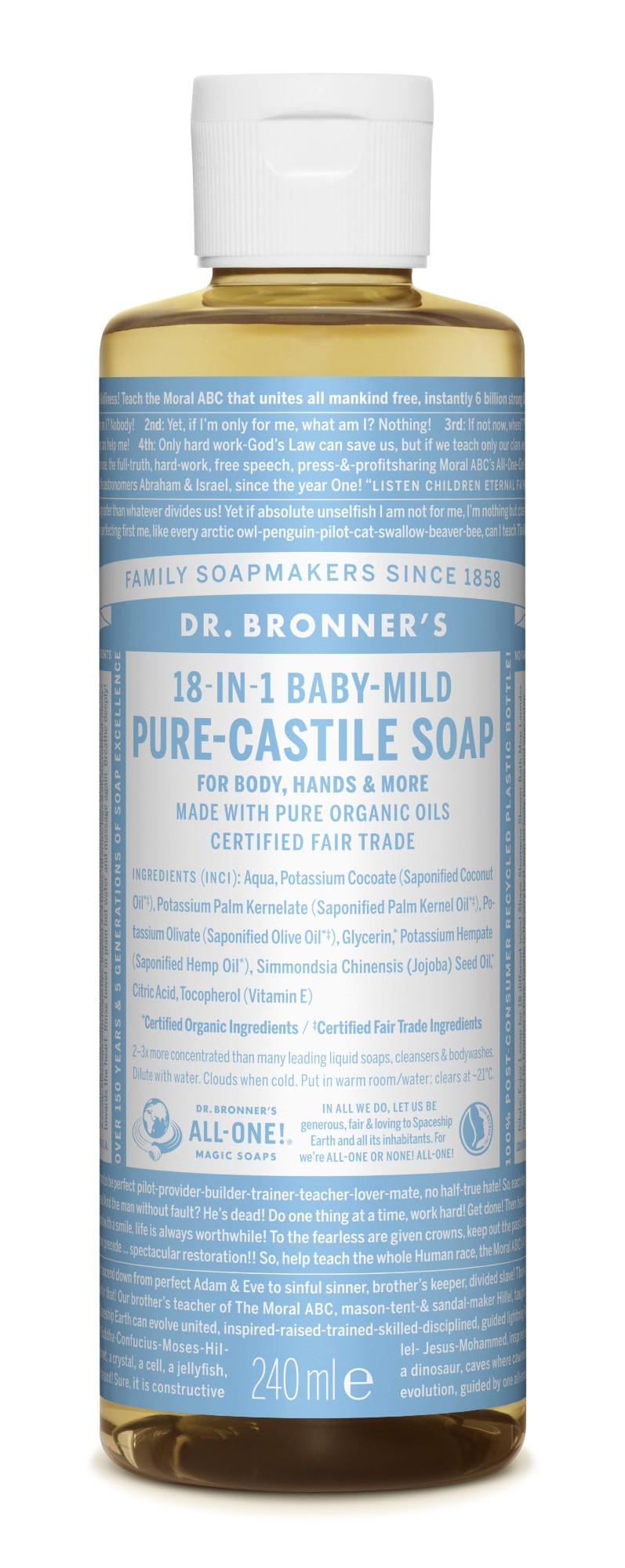 Ekologiškas tyras kastilietiškas skystas muilas DR. BRONNER'S Baby-Mild be kvapų su dvigubu alyvuogių aliejaus kiekiu 240 ml