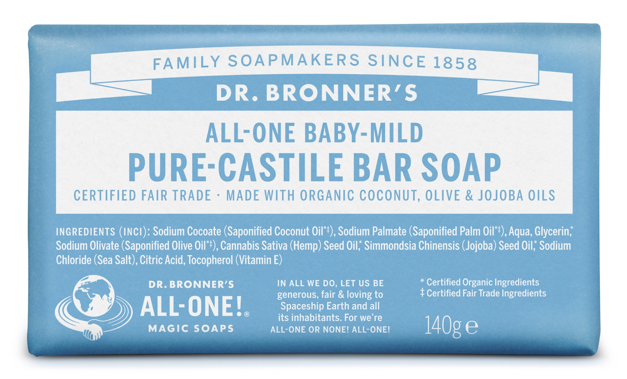 Ekologiškas tyras kastilietiškas muilas DR. BRONNER'S Baby-Mild 140 g