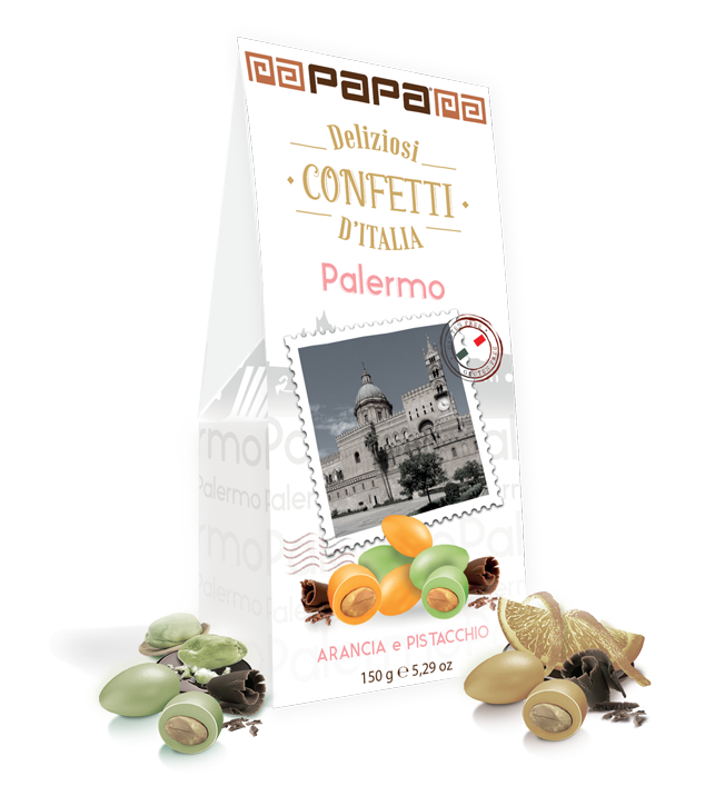 Migdolai PAPA Palermo su apelsinų ir pistacijų šokolado skoniu 150g