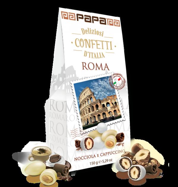 Lazdyno riešutai su šokoladu PAPA Roma, bei migdolai su šokoladu ir kapučino kavos skoniu 150g