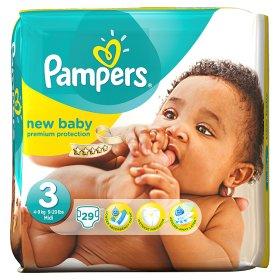 VOKIŠKOS Pampers New Baby sauskelnės, 3 dydis (4 – 9 kg), 29 vnt.