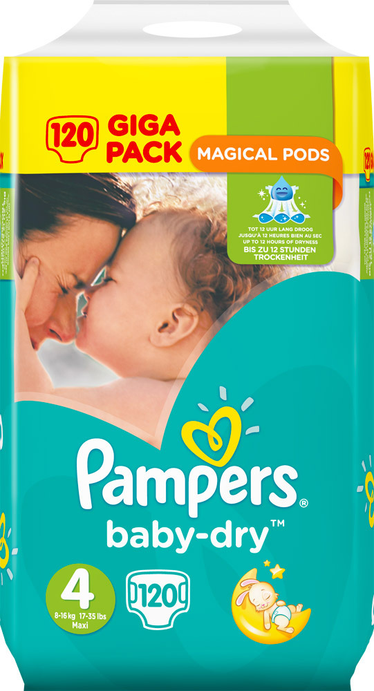Sauskelnės PAMPERS Baby Dry 4 dydis (8-16 kg), 120 vnt. Giga pack