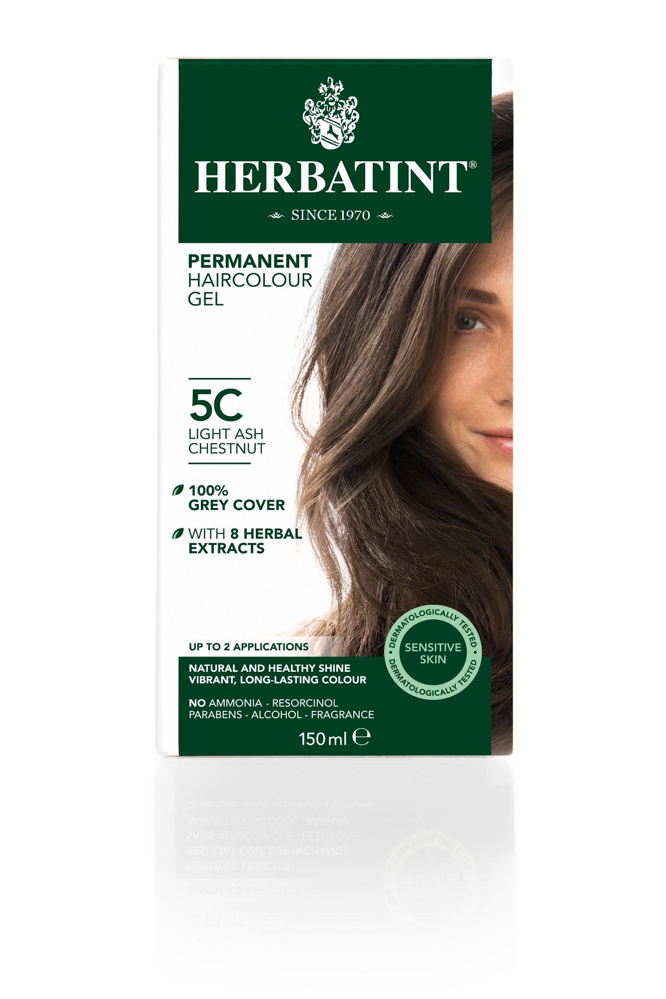 Ilgalaikiai plaukų dažai HERBATINT 5C šviesus pelenų kaštonas, 150 ml