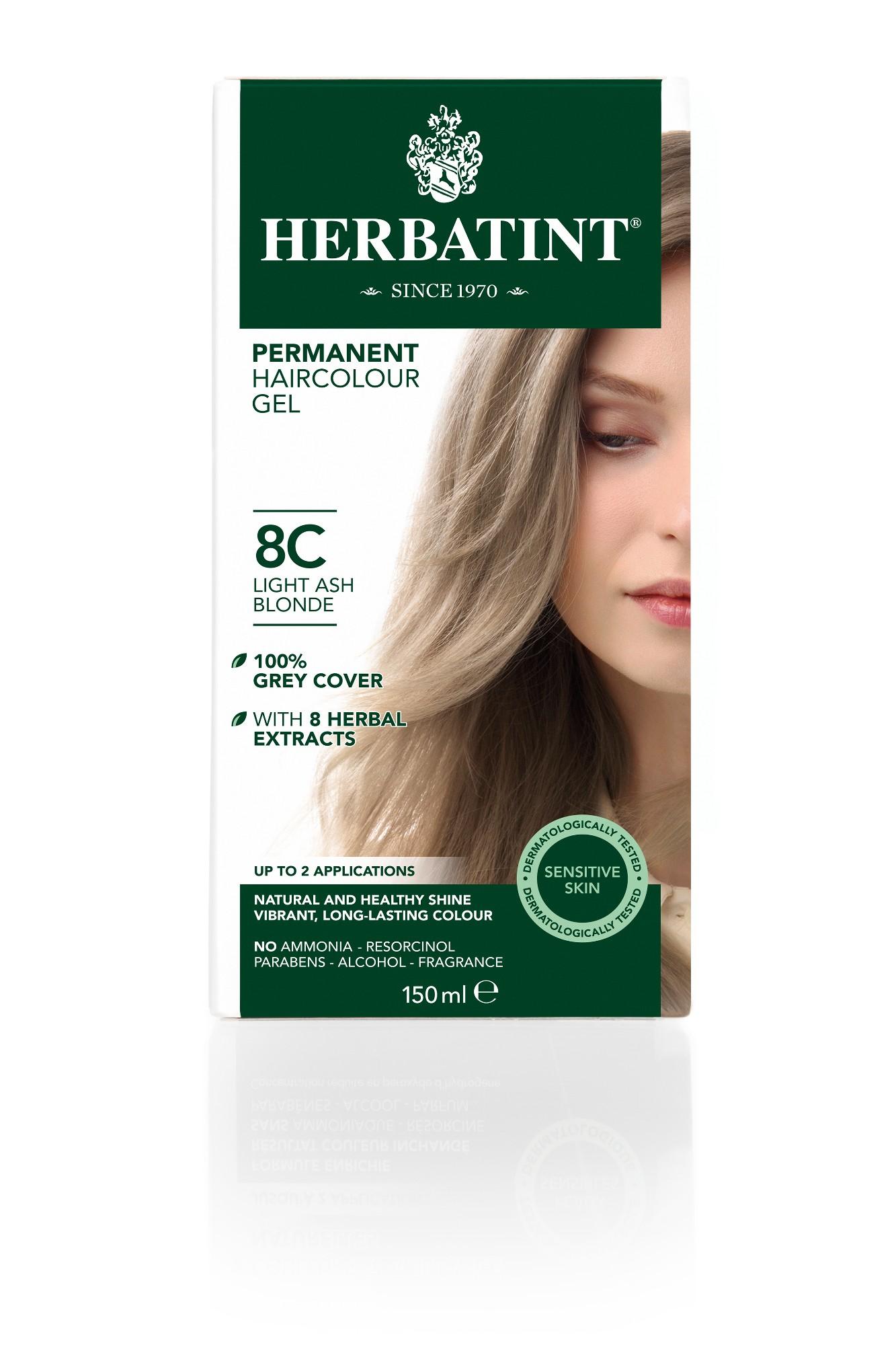 Ilgalaikiai plaukų dažai HERBATINT 8C šviesi pelenų blondinė, 150 ml