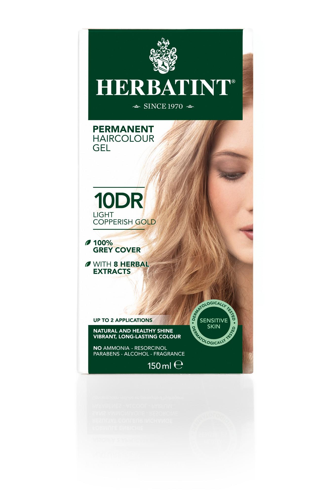 Ilgalaikiai plaukų dažai HERBATINT 10DR šviesaus aukso su vario atspalviu, 150 ml