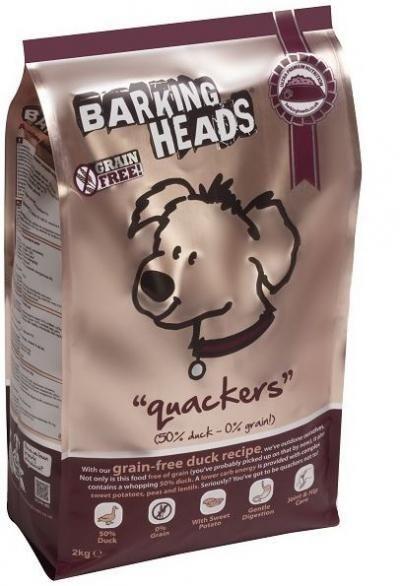 Sausas ėdalas BARKING HEADS Quackers Grain Free  su antiena ir upėtakiu, 2kg