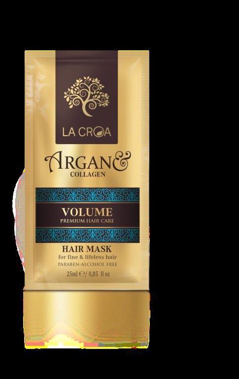 Apimties suteikianti plaukų kaukė LA CROA VOLUME ploniems ir pažeistiems plaukams, 25 ml