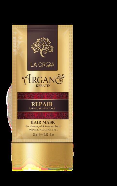Plaukų kaukė LA CROA REPAIR pažeistiems, dažytiems ir chemiškai paveiktiems plaukams, 25 ml