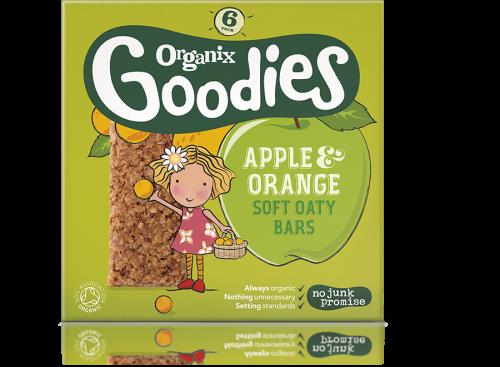 ORGANIX GOODIES ekologiški avižiniai batonėliai su obuoliais ir apelsinais, vaikams nuo 1 metų, 180g