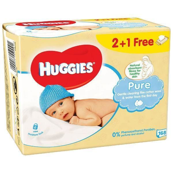 Huggies Pure drėgnos servetėlės 2+1 nemokamai (3*56vnt)