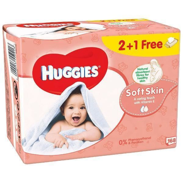 Huggies Soft Skin drėgnos servetėlės 2+1 nemokamai (3*56vnt)