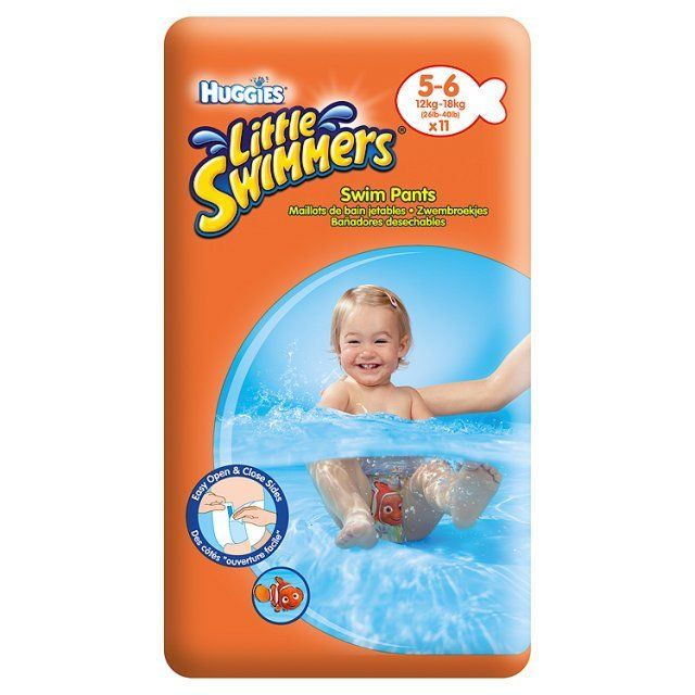 Sauskelnės-kelnaitės maudymuisi HUGGIES Little Swimmers, 5-6 dydis (12-18 kg), 11 vnt.