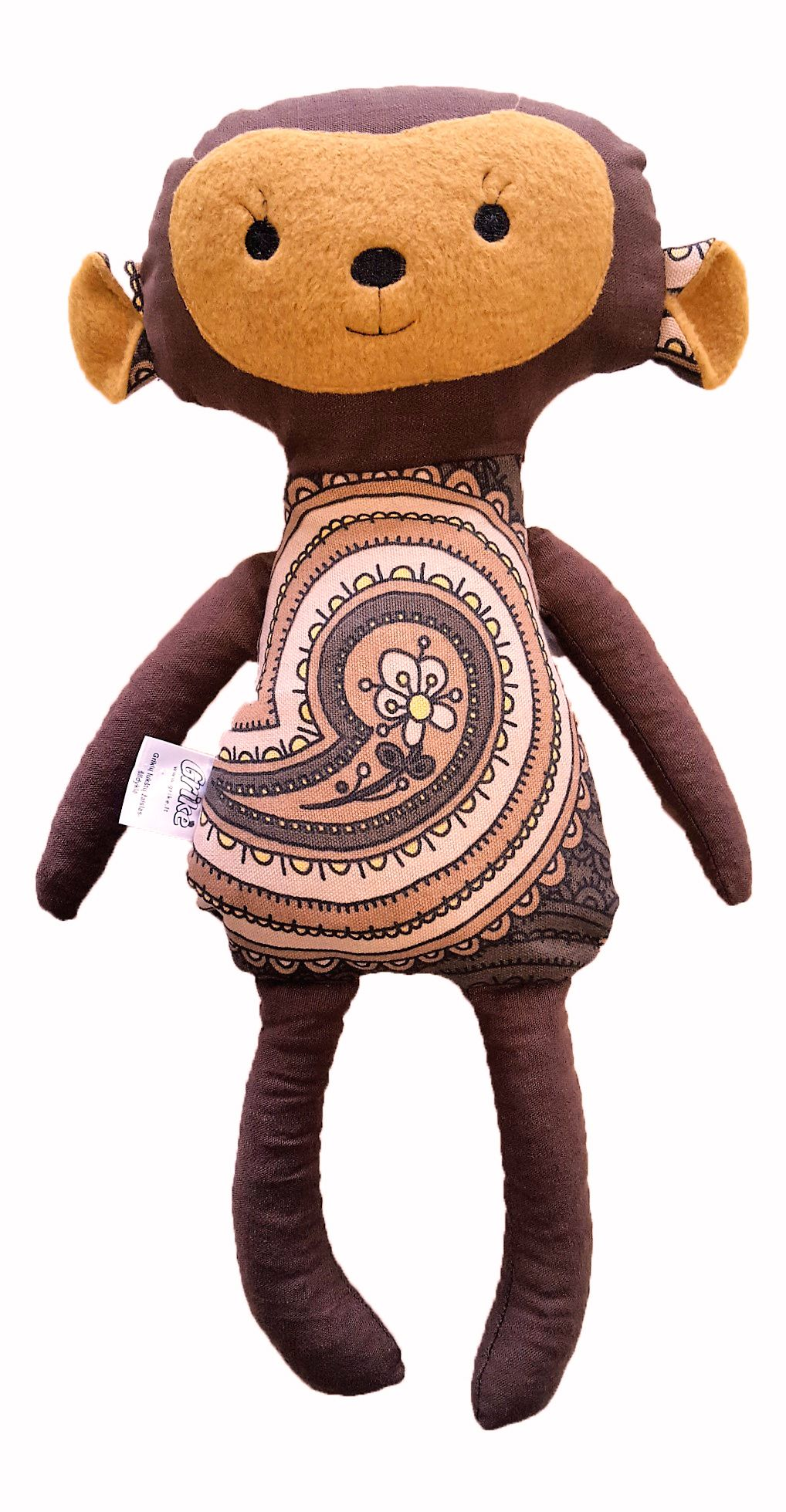 Natūralus grikių lukštų žaislas (šildyklė) GRIKĖ Beždžionė