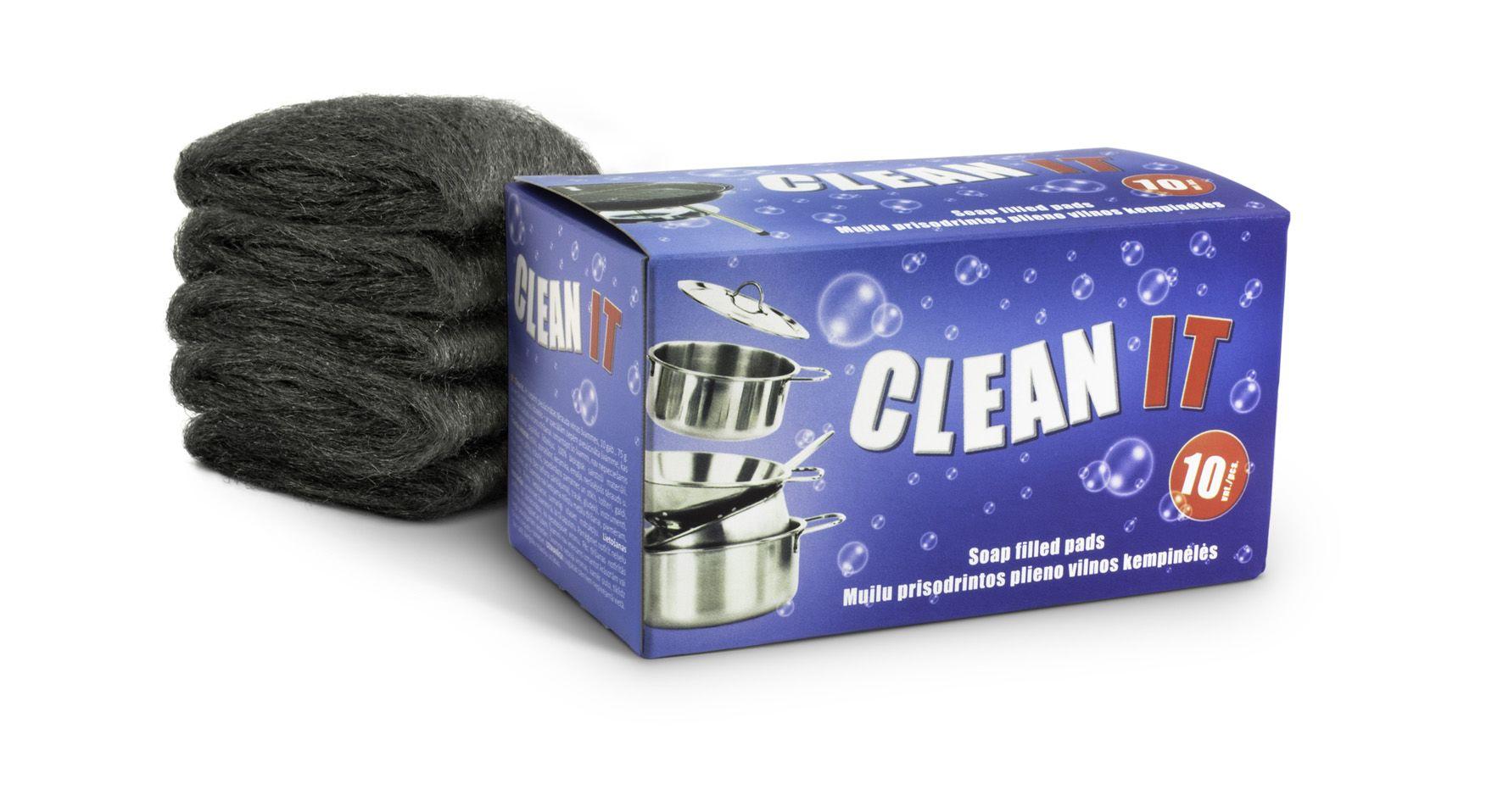 Muilu prisodrintos plieno vilnos kempinėlės CLEAN IT! , 10vnt.