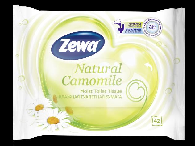 Šlapias tualetinis popierius ramunėlių kvapo  ZEWA Moist ,  42 vnt