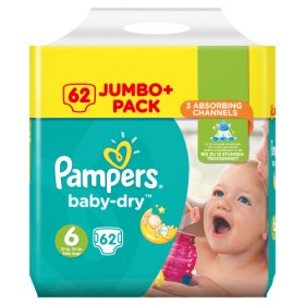 PAMPERS Baby-dry sauskelnės 6 dydis (15+ kg), JUMBO pack 64 vnt