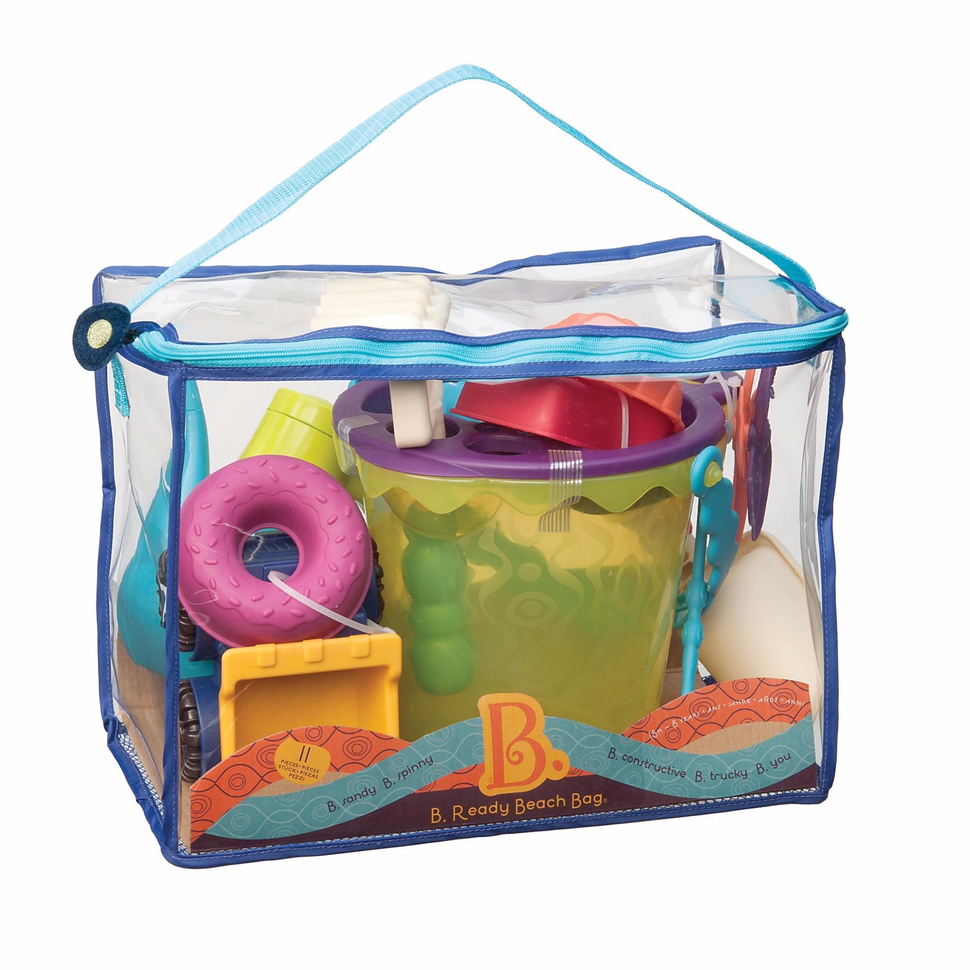 Smėlio žaislų rinkinys krepšyje B-TOYS 18 mėn.-8 m. vaikams, 11 detalių (BX1307Z)