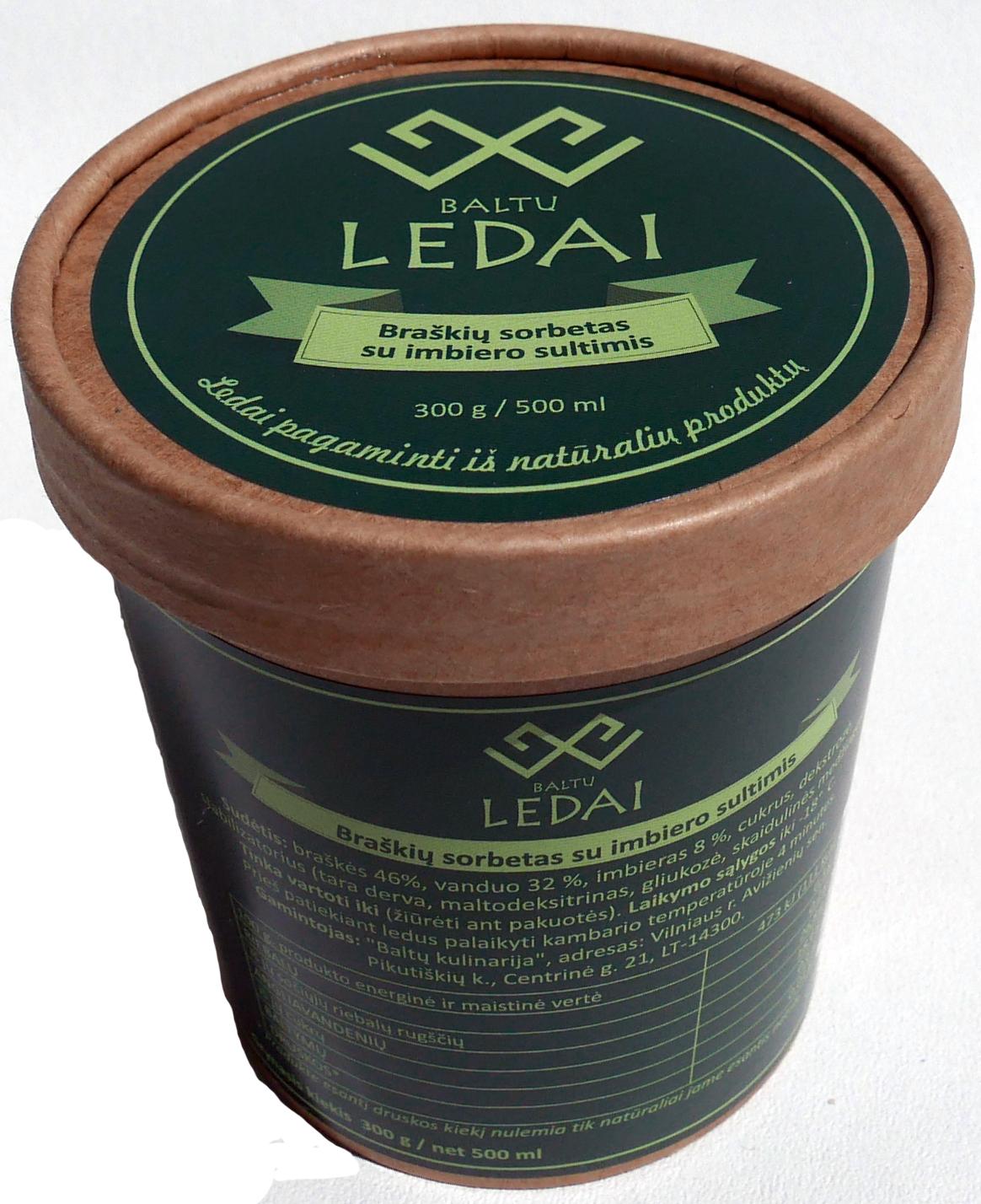 Valgomieji ledai BALTŲ LEDAI Braškių sorbetas su imbiero sultimis, 300g