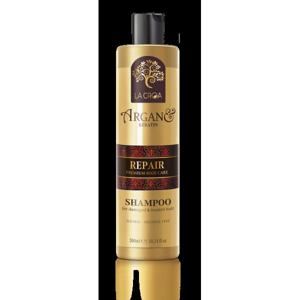 Šampūnas LA CROA REPAIR pažeistiems, dažytiems ir chemiškai paveiktiems plaukams, 300 ml