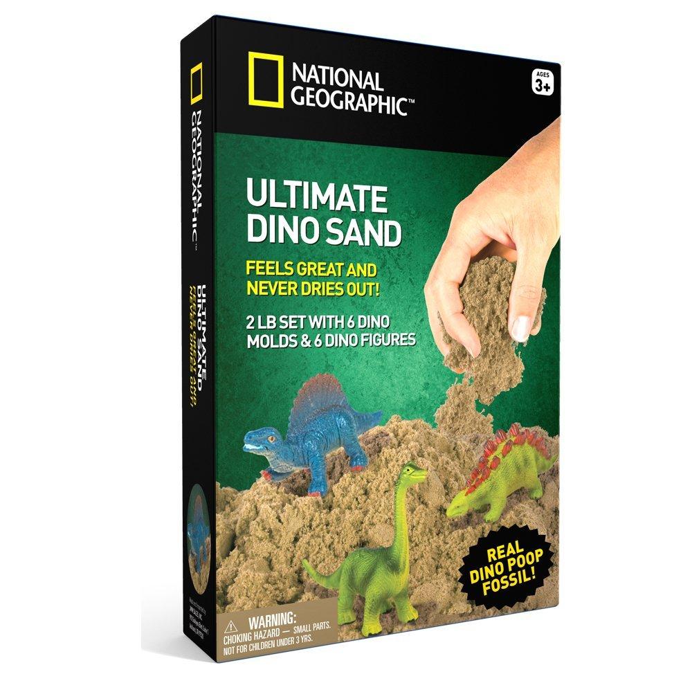 Kinetinio smėlio rinkinys NATIONAL GEOGRAPHIC su dinozaurais vaikams nuo 3 metų