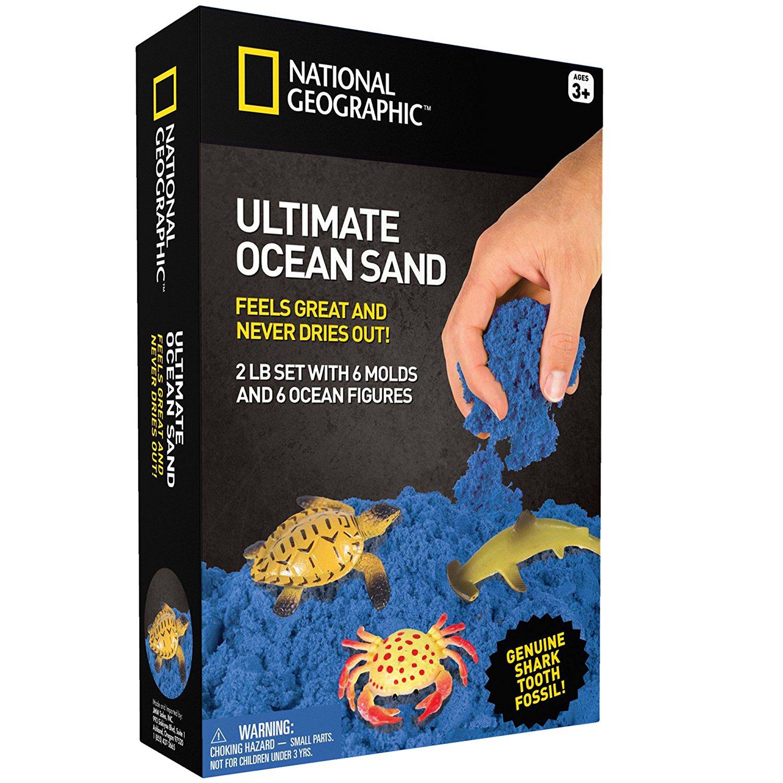 Kinetinio smėlio rinkinys NATIONAL GEOGRAPHIC su jūros gyvūnais vaikams nuo 3 metų