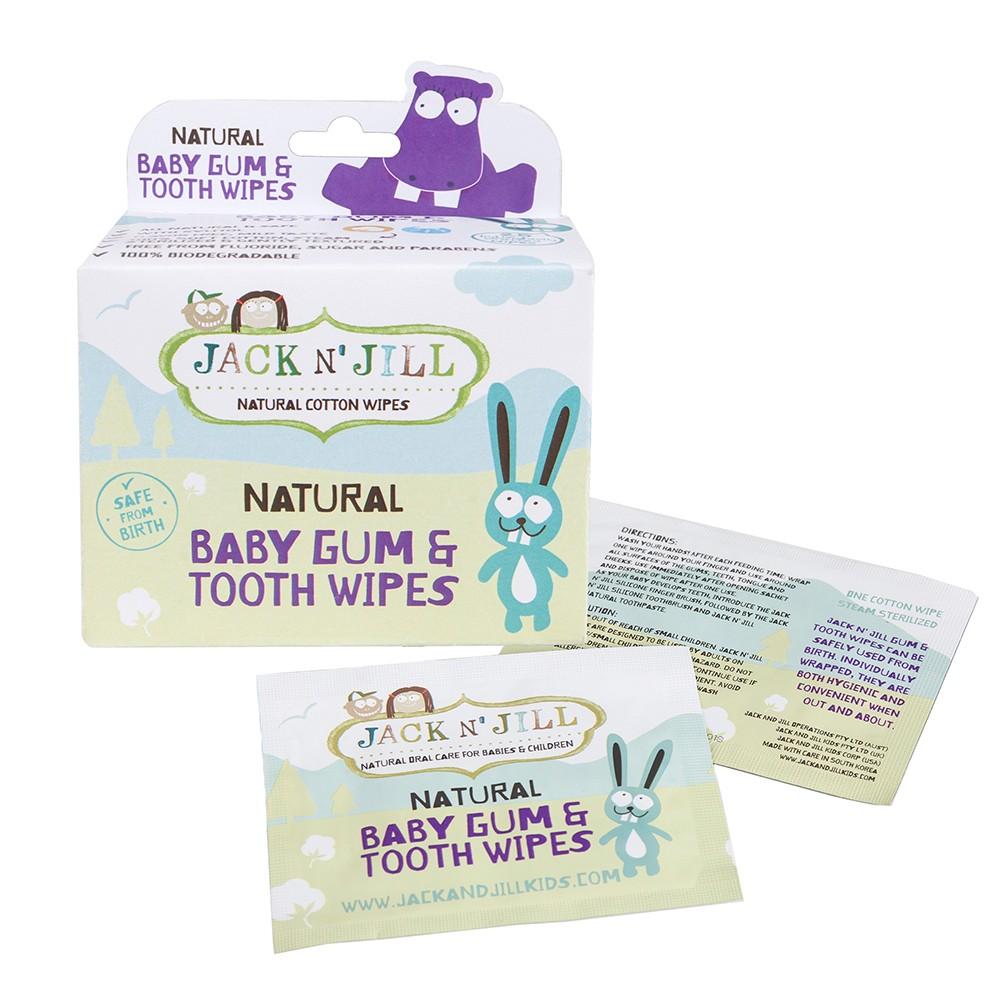 NATŪRALIOS dantukų ir dantenų servetėlės su ksilitoliu Jack N'Jill, 25 vnt.