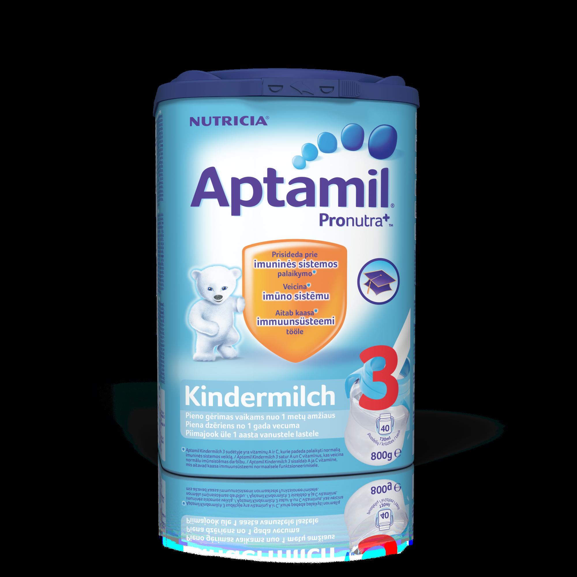 Pieno mišinys APTAMIL Kindermilch 3 su PRONUTRA+, VAIKAMS NUO 1 METŲ, neto masė 800 g (buvęs Nr.4)