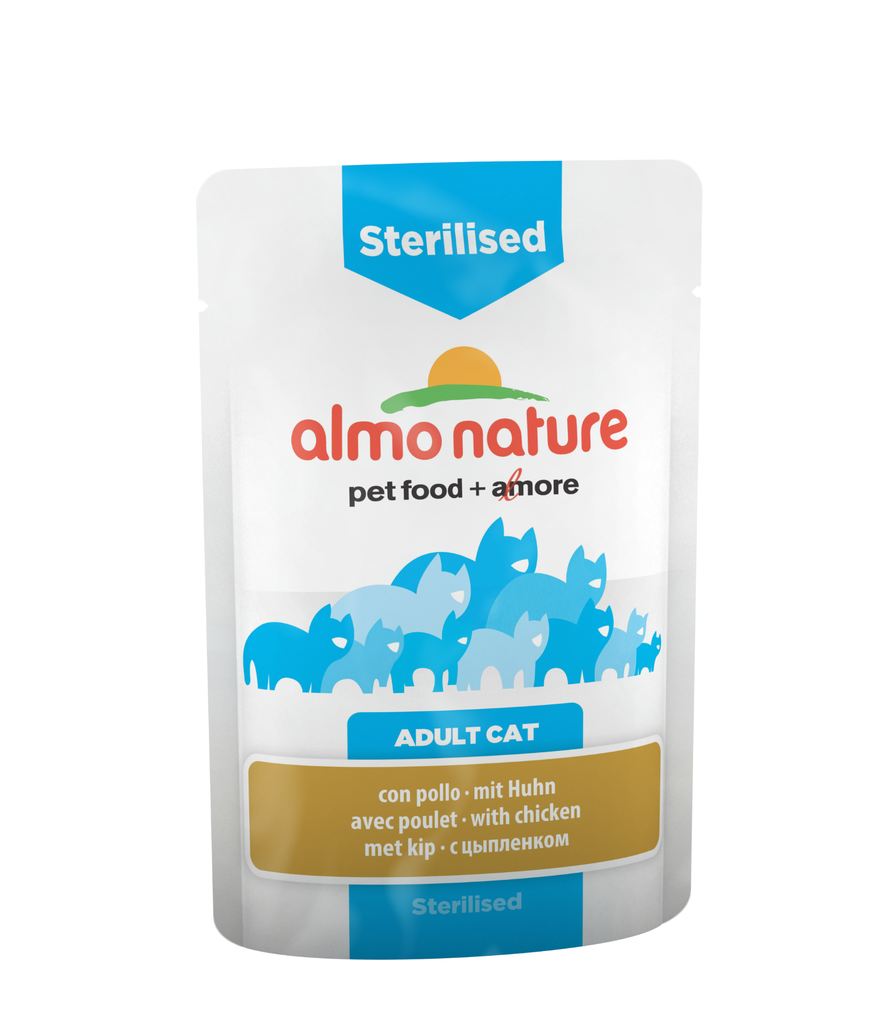 Kačių ėdalas ALMO NATURE Functional – sterilizuotiems, su vištiena, 70 g