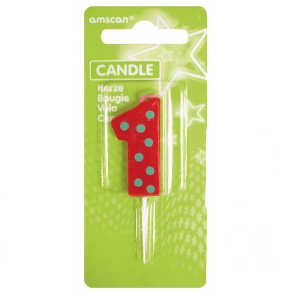 Žvakutė-skaičiukas 1 AMSCAN Dots & Stripes, 7.6 cm