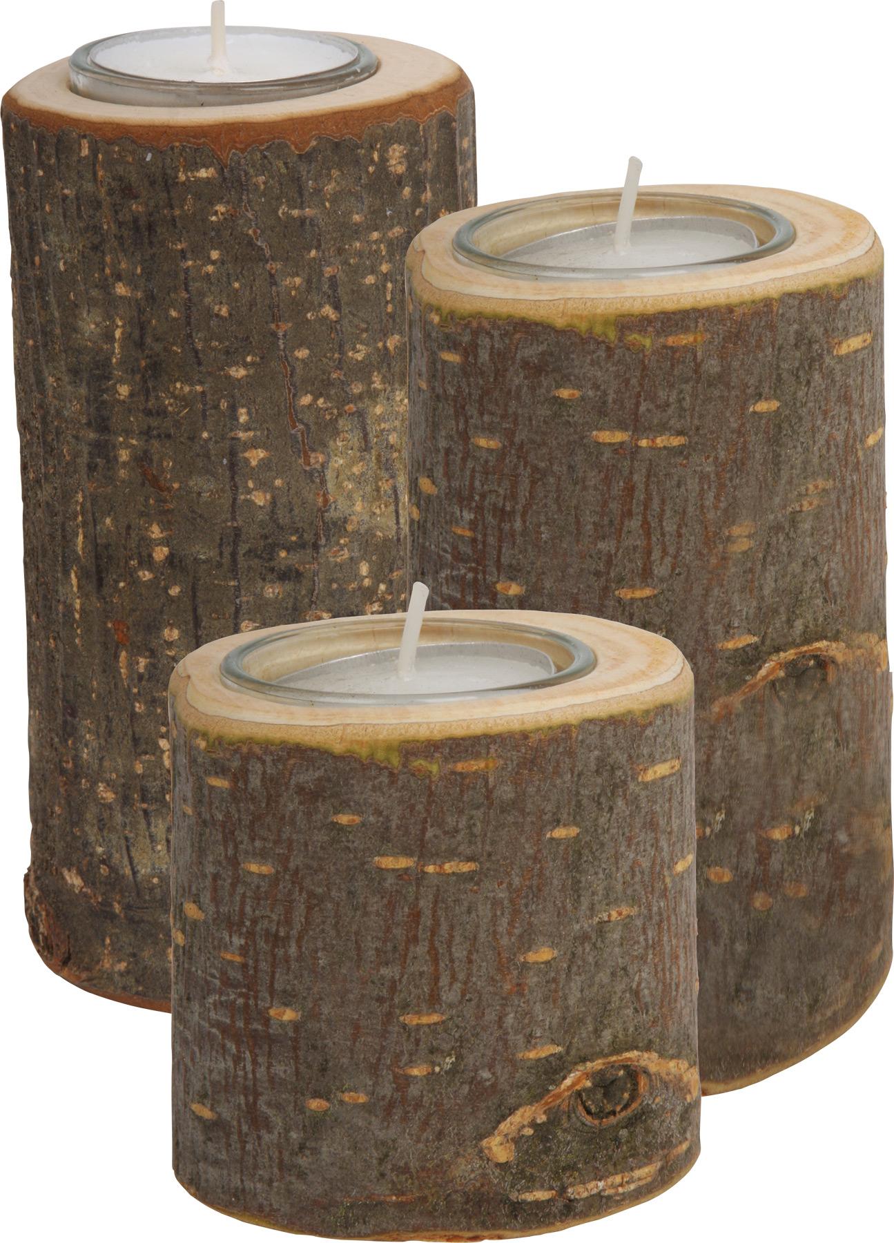 Medinės žvakidės SMALL FOOT, 3 vnt.