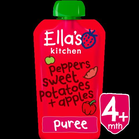 EKOLOGIŠKA Ella's Kitchen RAUDONŲJŲ PAPRIKŲ, SALDŽIŲ BULVIŲ ir OBUOLIŲ tyrelė kūdikiams nuo 4mėn., 120g.