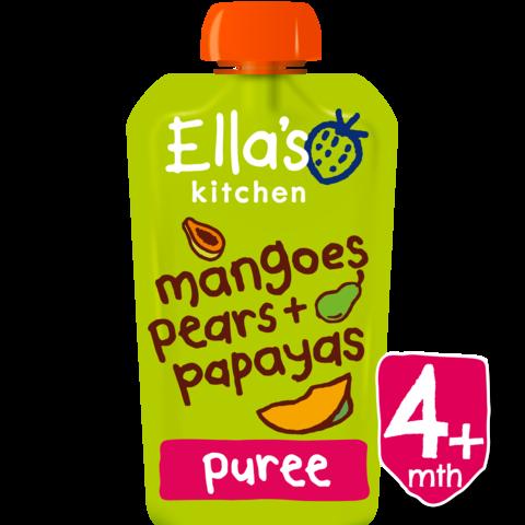 Ekologiška mangų, kriaušių ir papajų tyrelė ELLA'S KITCHEN kūdikiams nuo 4 mėn., 120 g