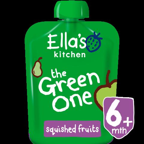 EKOLOGIŠKA Ella's Kitchen OBUOLIŲ, KRIAUŠIŲ, BANANŲ ir KIVI tyrelė vaikams nuo 1 metų The Green One, 90g.