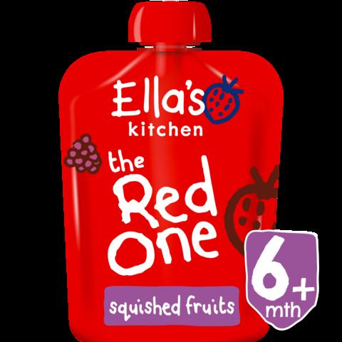 Ekologiška braškių, aviečių, obuolių ir bananų tyrelė ELLA'S KITCHEN The Red One vaikams nuo 1 m., 90 g