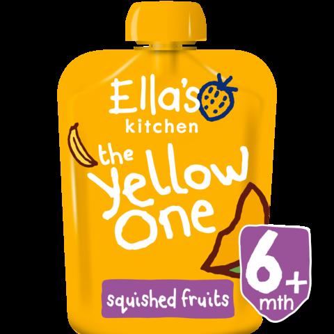 EKOLOGIŠKA Ella's Kitchen BANANŲ, MANGO, ABRIKOSŲ ir OBUOLIŲ tyrelė vaikams nuo 1 metų The Yellow One, 90g.