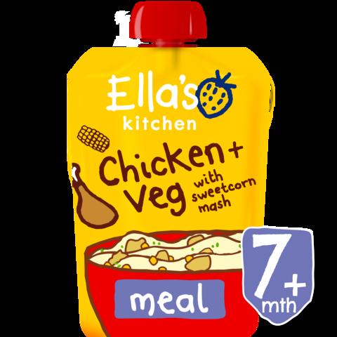 EKOLOGIŠKA Ella's Kitchen VIŠTIENOS tyrelė su KUKURŪZAIS, kūdikiams nuo 7 mėn., 130 g