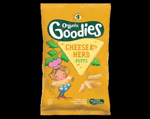 ORGANIX GOODIES ekologiškos sūrio ir žolelių skonio kukurūzų lazdelės, vaikams nuo 1 metų, 15g
