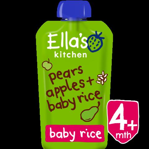 EKOLOGIŠKA KRIAUŠIŲ, OBUOLIŲ ir RYŽIŲ tyrelė, Ella's kitchen, kūdikiams nuo 4 mėn., 120 g