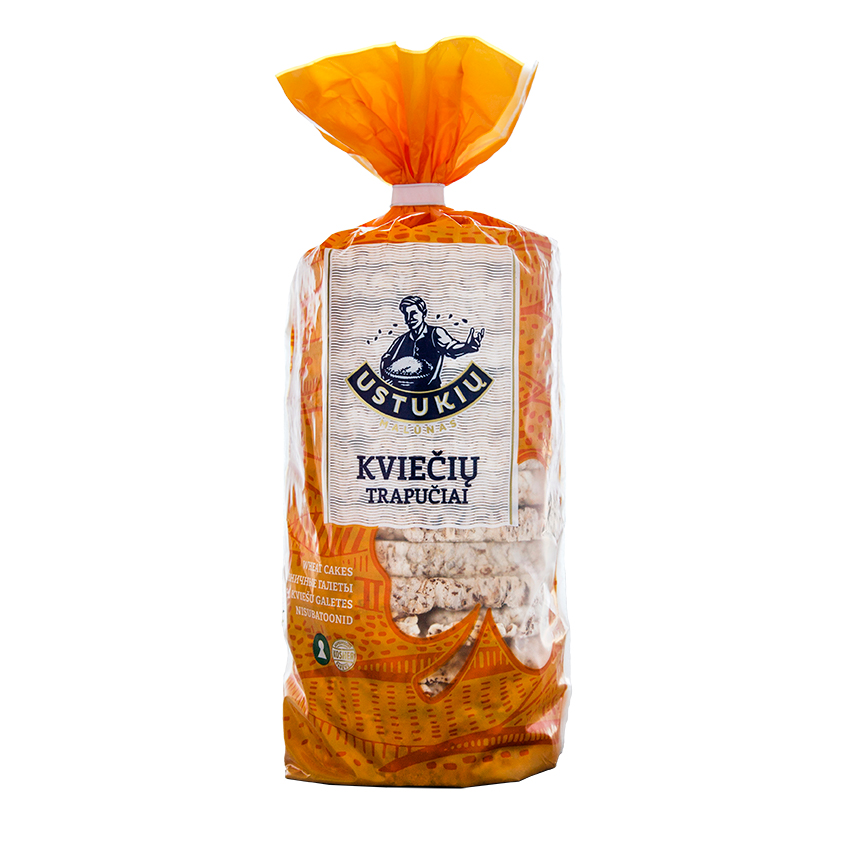 USTUKIŲ MALŪNAS Kviečių trapučiai su sezamu ir joduota druska,100g
