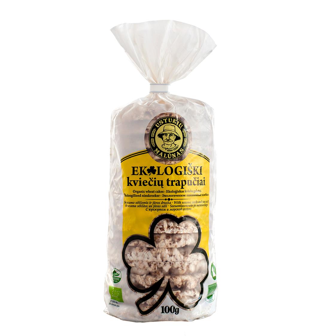 USTUKIŲ MALŪNAS Ekologiški kviečių trapučiai su sezamu ir joduota druska, 100g
