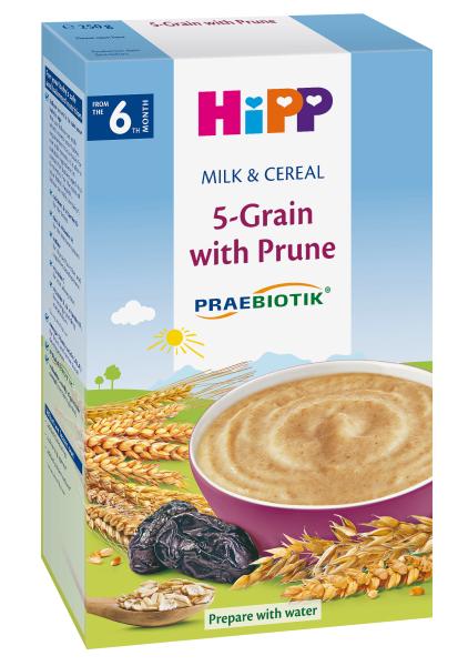 Pieniška penkių grūdų košė HIPP su džiovintomis slyvomis (nuo 6 mėn.), 250 g